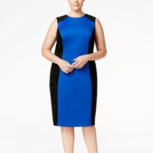 Calvin Klein Faux-Suede-Trim Scuba Sheath Dress